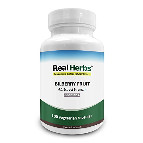 Real Herbs Bilberry Extract - Derived from 1,500mg of Bilberry Fruit with 4 : 1 Extract Strength - Promotes Vision & Blood Circulation, Improves Cardiovascular Health - 100 Vegetarian Capsules