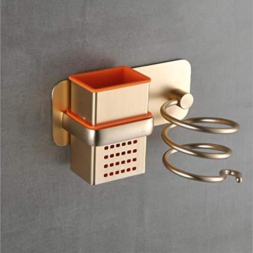 yuery De aluminio montado en la pared secador de pelo estante organizador secador de pelo alisador titular conjunto de estante de baño para suministros de baño oro
