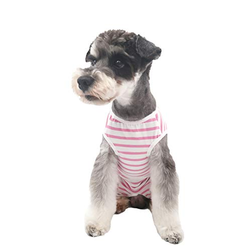 Etdane Small Dog Onesies Surgical Recovery Suit Abdominal Wounds Protector Post-Operative Shirt Pet E-Collar Alternative Vest Without Collar for Home Outdoor Pink Stripe X-Small