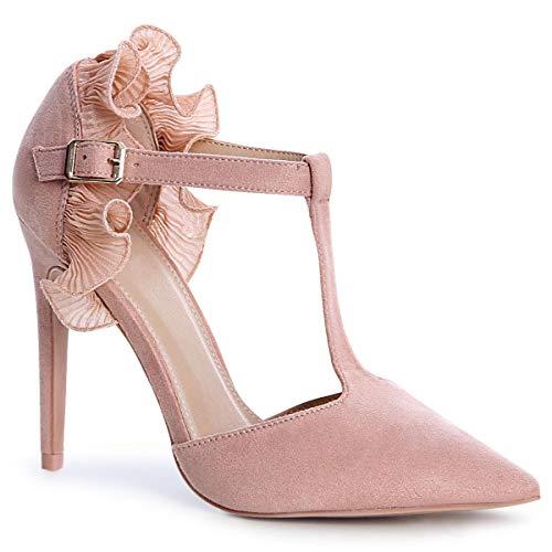 topschuhe24 1680 Damen Riemchen Pumps Velours, Größe:35 EU, Farbe:Rose - Rosa