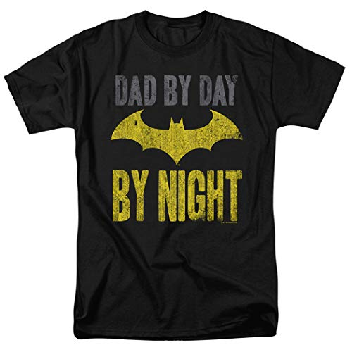 Popfunk Batman Dad by Day T Shirt for Fathers Day & Stickers (Large) Black