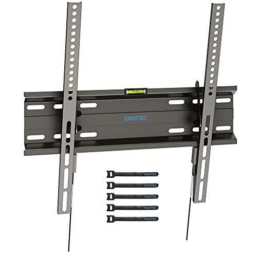 Bontec TV Wandhalterung Neigbare TV Halterung Ultraslim Universal für 23-55-Zoll LCD/LED/Plasma Fernseher Flach&Curved bis zu 45kg, Max.Vesa 400x400