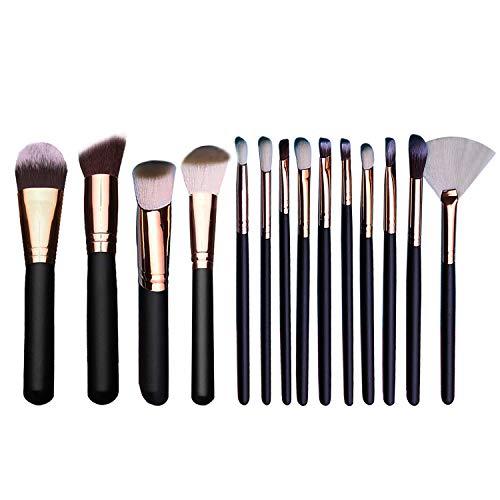 Brochas de Maquillaje, 15 piezas Pinceles de maquillaje professional fibra sintética para las cejas, base de maquillaje, polvos, crema, Set de brochas de maquillaje (negro) (Negro)
