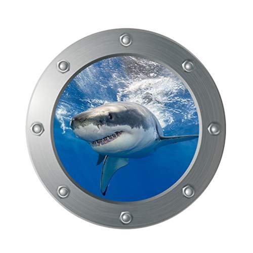 Vosarea 3D Fliesenaufkleber Hai U Boot Fenster Wandaufkleber Selbstklebend Unterwasser Welt Fliesensticker Maritim Wandtattoo Bullauge Deko für Bade Wohnzimmer Schlafzimmer, 29x29cm