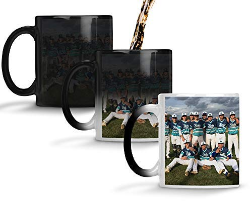 Custom Personalized Heat Sensitive Color Changing Coffee Mug | Custom image Mug Changes to Blank when Cold and Image shows when Hot | No Minimums | 11 Ounce Custom Coffee Mug