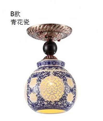 Lámpara de techo de techo estilo chino lámpara de cerámica para pasillo, restaurante, antigua, lámpara de techo o balcón Zl506-B