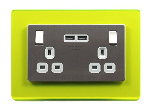 Double Light Switch Surround Acrylic Finger Plate Plug Socket - 59 COLOURS