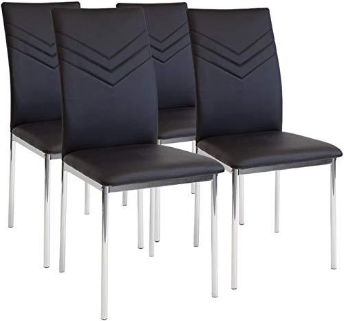 Albatros 2934 Verona Set de 4 sillas de Comedor, Negro, pie de Cromo, SGS Tested