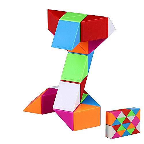 iLink Magic Snake Cube Puzzle-24 Blocks Rompecabezas de cubo de serpiente mágica-Juguetes de serpiente -Favores de fiesta de cumpleaños para niños (arco iris)