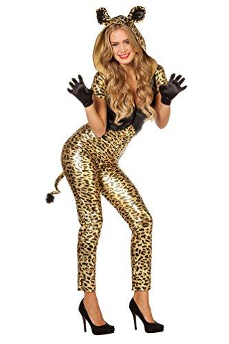 Karneval-Klamotten Panther Leopard Kostüm Damen sexy Gold Afrika Catsuit Tier Damenkostüm