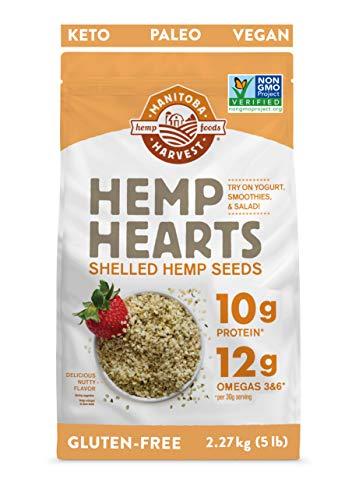 Manitoba Harvest Hemp Hearts Shelled Hemp Seeds, 5lb; 10g Plant-Based Protein & 12g Omegas per Serving, Whole 30 Approved, Vegan, Keto, Paleo, Non-GMO, Gluten Free