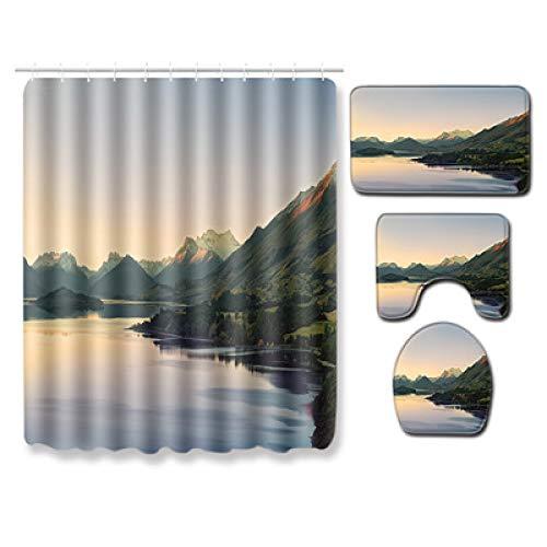 CCBAO Moderne Einfache wasserdichte Landschaft Duschvorhang Bad Polyester Kombination Vierteilig Set Bad Rechteckige rutschfeste Bodenmatte
