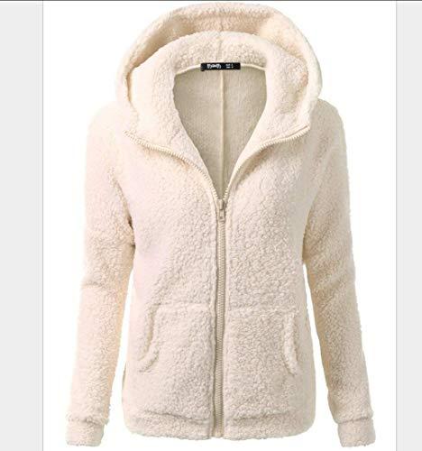 Sallypan Frauen Fleece Kapuzenjacke Zipper Teddy Mantel Herbst-Winter-Warm Fuzzy Shearling Fluffy Jacke Zwei Taschen Mantel Outwear,Apricot,L