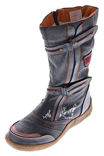 Damen Leder Winter Stiefel Comfort Boots TMA 14411 Schuhe Schwarz gefüttert Gr. 36