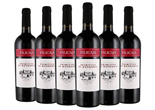 Primitivo di Manduria DOC 2018 - Villa da Filicaja - 6 x 0,75 l. - Italienischer Wein - Apulien -Italien