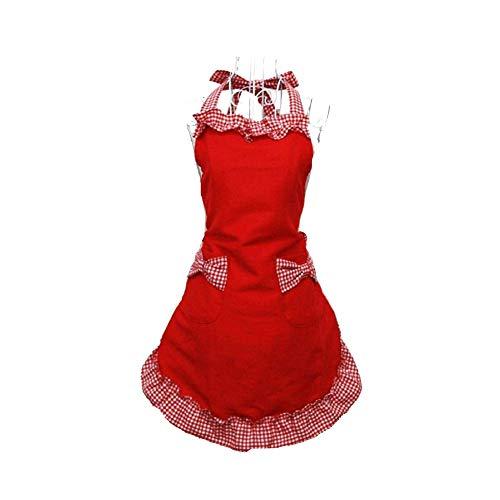 HANERDUN Kochschürze Frauen Damen Schürze Küchenschürze Rot Verstellbar Petticoat mit zwei Taschen Bowknot Schleife für Kochen Backen Grillen Geschenk Idee