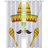 Cortinas opacas para niños, famosos centros de mesa Iconos de México Sombrero bigote Rumba Shaker impresión mesoamericana, W52 x L95 Cortinas opacas para habitación de niños, amarillo