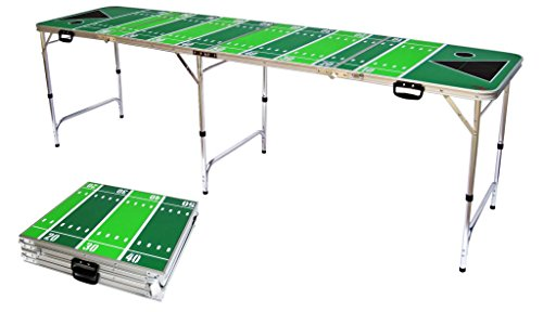 Red Cup Pong 8' Folding Beer Pong Table with Bottle Opener, Ball Rack and 6 Pong Balls - Football Design