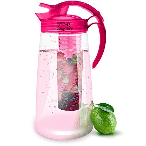 CampTeck 2 Liter 2000ml Fruchtschorlen Kanne Karaffe Infuser (BPA-freier Tritan Kunststoff) mit Auslaufsicheren Luftdichtem Deckel + Verschluss & Henkel - Pink