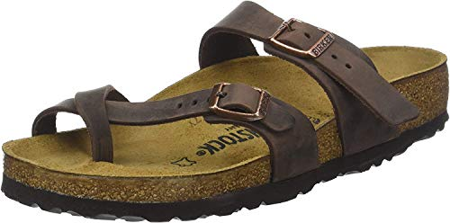 BIRKENSTOCK Damen Mayari Greased Leather Zehentrenner, Braun (Marron Habana Marron Habana), 39 EU