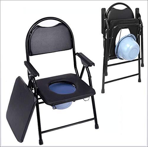 WLKQ Faltbarer Hygienischer Toilettenstuhl, Toilettenstuhl Toilettenhilfen, Toilettenstuhl fahrbar, bis 150 kg, für Erwachsene Handicap Senioren mit Deckel, schwarz