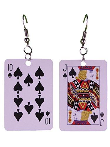 Ohrringe Ohrhänger Hänger Karte Kartenspiel Pik Bub Prinz leicht am Ohr 8291