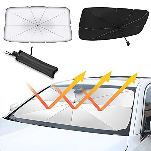 VICKSONGS Faltbare Sonnenschutz Auto Frontscheibe, Faltbarer Auto Windschutzscheibe Sonnenschutz, Block 99{93f9377bc25168edbe4093db830b96c5b8f09929459afd8e366192349acff9cc} UV-Sonnenschirm Universal, für die Meisten Autos, SUVs & LKWs Sonnenschutz - 125*65cm
