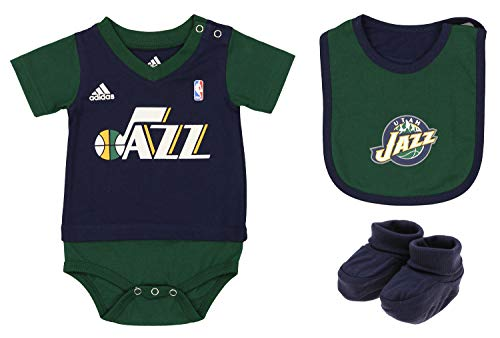 Outerstuff NBA Infants/Toddlers Utah Jazz Lil Jersey Creeper with Bib & Bootie Set, 6-9 Months
