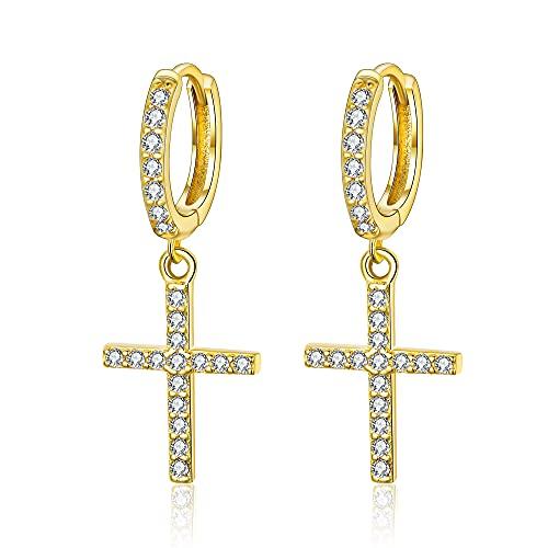 EVER FAITH Pendientes de aro con forma de cruz, plata de ley 925 y circonitas blancas, minimalistas para mujeres y niñas, Plata de ley,