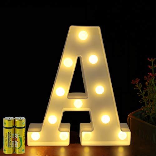 HONPHIER® Letras de luces LED con letras del alfabeto iluminadas, decoración para cumpleaños, fiestas, bodas, habitación infantil (A)