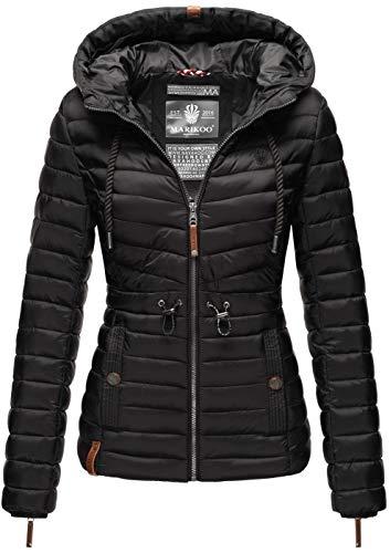 MARIKOO Damen Jacke Steppjacke Übergangsjacke gesteppt Stepp Frühling B867 [B867-Aniy-Schwarz-Gr.S]