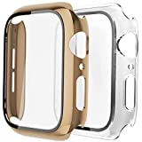 [2 Pack] GBPOOT Case Compatible with Apple Watch Hard Case 44mm with Ultra-Thin TPU Full Screen Protector Film,Hard PC Shockproof Bumper Cover for iWatch Series SE/6/5/4,Light Gold/Clear#44mm