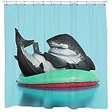 Sharp Shirter Funny Hai Duschvorhang-Set, Videospiel, Badezimmer-Dekoration, Geeky Geschenk, 71 x 74 cm, Blaue Stoffhaken enthalten