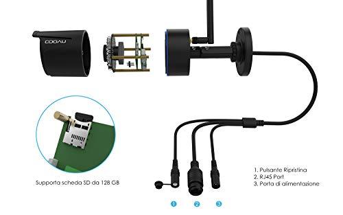 COOAU Telecamera 1080P HD IP Camera Wifi Wireless Videosorveglianza Esterno Telecamera di Sicurezza con Cavo di Alimentazione 3M, Visione notturna di 20 m, chip Hisilicon Avanzato, Motion Detection