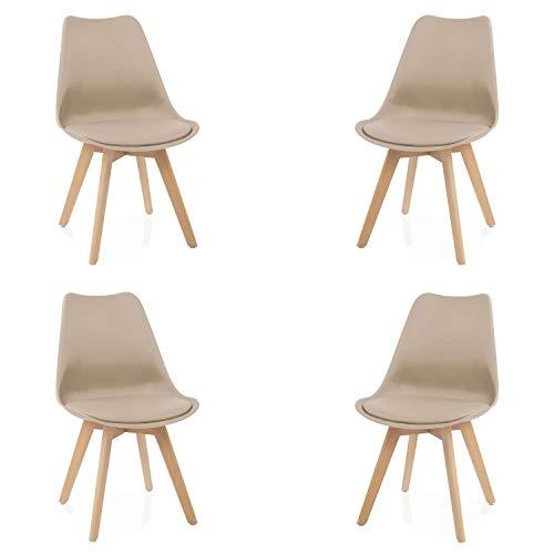 Due-Home - Beench - Pack 4 sillas Tower Madera Haya, sillas de Comedor Estilo nordico, Medidas: 83 cm (Alto) x 49 (Ancho) cm x 53.5 cm (Fondo) (Arena)