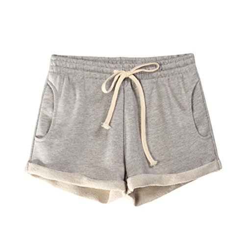 LINNUO Pantaloncini Donna Vacanza Sportivi Pantaloni Corti Coulisse Spiaggia Yoga Calzoncini Elastici Casual Shorts Hot Pants (Grigio Chiaro,CN S)