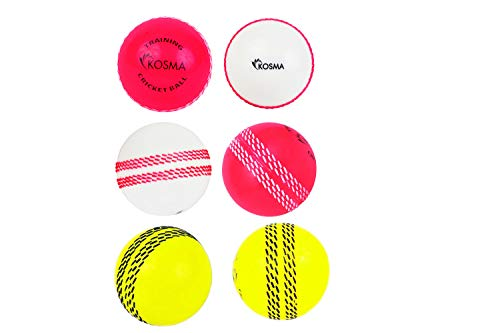 Kosma 6er Set Windball Cricketball | Weiche Trainingsbälle | Sport & Freizeit (2-teilig weiß mit rosa Naht, 2-teilig rosa mit weißer Naht, 2-teiliges Flourecent-Gelb mit Blauer Naht)