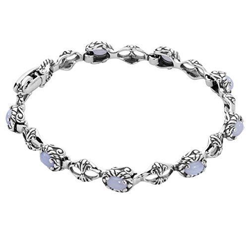 Carolyn Pollack Sterling Silver Blue Lace Agate Gemstone Tennis Bracelet Size Large