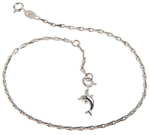 Cavigliera (Avena grano) con ciondolo a forma di delfino–2mm di larghezza–Lunghezza a scelta 23–30cm–in vero argento 925, argento, cod. 1235