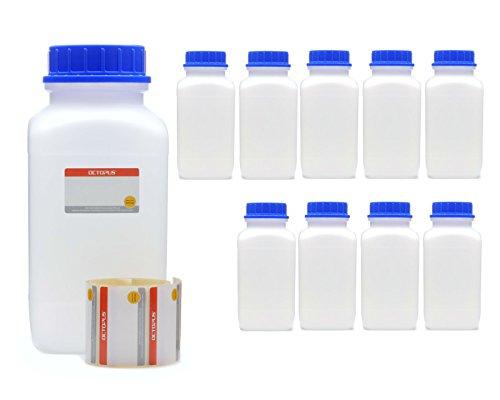 Octopus 10x 2500 ml Weithalsflaschen mit Schraubverschluß, Chemiekalienflaschen, Laborflaschen mit Deckel als Aufbewahrungsbehälter für Labor, Küche oder Hobby