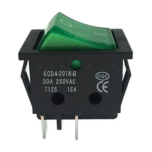 PHISCALE 照光型 ? ロッカスイッチ 30A 250VAC ハイパワー オン-オフ ON-OFF DPST 4 銅ピン 長方形 31x25mm 電気溶接機 電源 に適用する(6 個 入り)