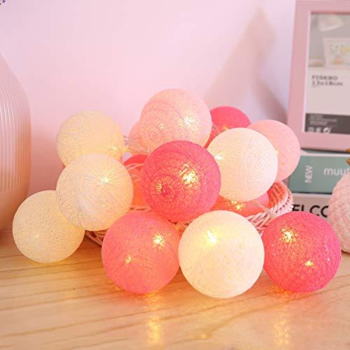 Bolas de Algodón LED Luces Hadas, [3M, 20LEDs] Cadena de Luz Luminosa Funciona con Pilas INS Decoración ideal para Habitación de Niños Boda Fiesta Babyshower - 6CM Diámetro (Pink pastel)