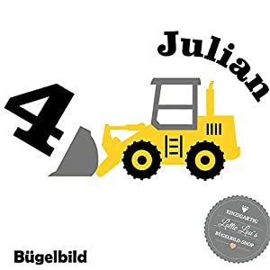 Bügelbild Aufbügler Geburtstag Bulldozer Bagger Baustelle Zahl in Flex, Glitzer, Flock, Effekt in Wunschgröße