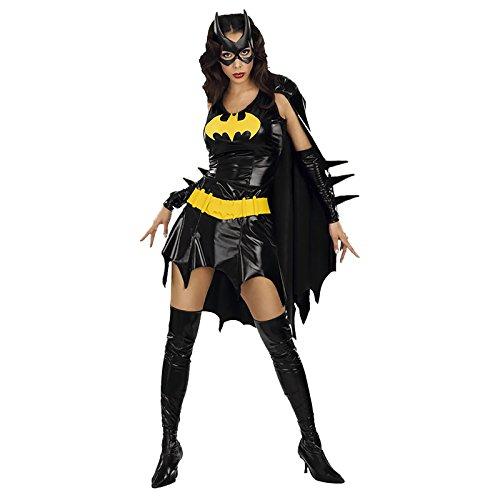 Batgirl costume comica, stretto e sexy, nero lucido, Costume prezzo - XS