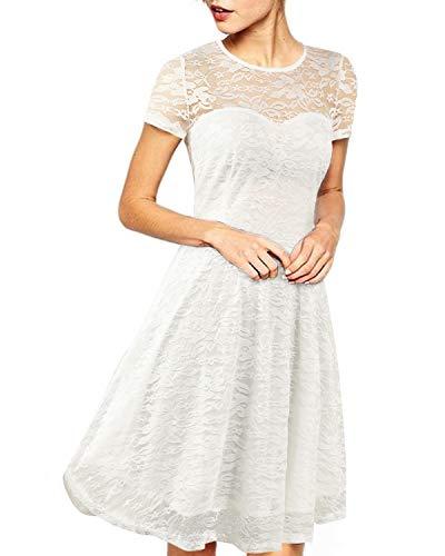 ZANZEA vestido corto informal de verano con encaje fino/manga larga para mujer -  Blanco -  Medium