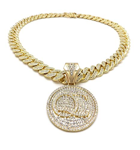 BLINGFACTORY Hip Hop QC Quality Control Pendant & 12mm 18' Full Iced Box Lock Cuban Chain Necklace