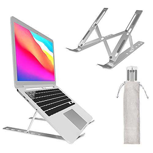 Soporte de Portátil, Aluminio Soporte para Laptop Portátil Plegable y Ajustable de 6 alturas compatible Soporte Ordenadores para Todos Los Portátiles10-17Pulgadas MacBook,DELL,HP