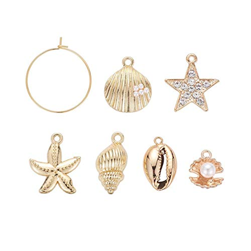 SUPVOX 24Pcs Shell Earring Pendants Assorted Gold Shell Charm Pendant Seashell Starfish Charms for Jewelry Making and Crafting