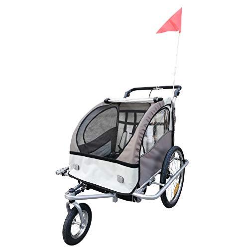 HOMCOM Remolque Infantil para Bicicleta 2 PLAZAS Rueda Giratoria 360° Amortiguadores BARRA...