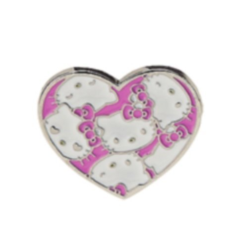 Hello Kitty Two Finger Ring - Pink/White Heart (adjustable ring band)